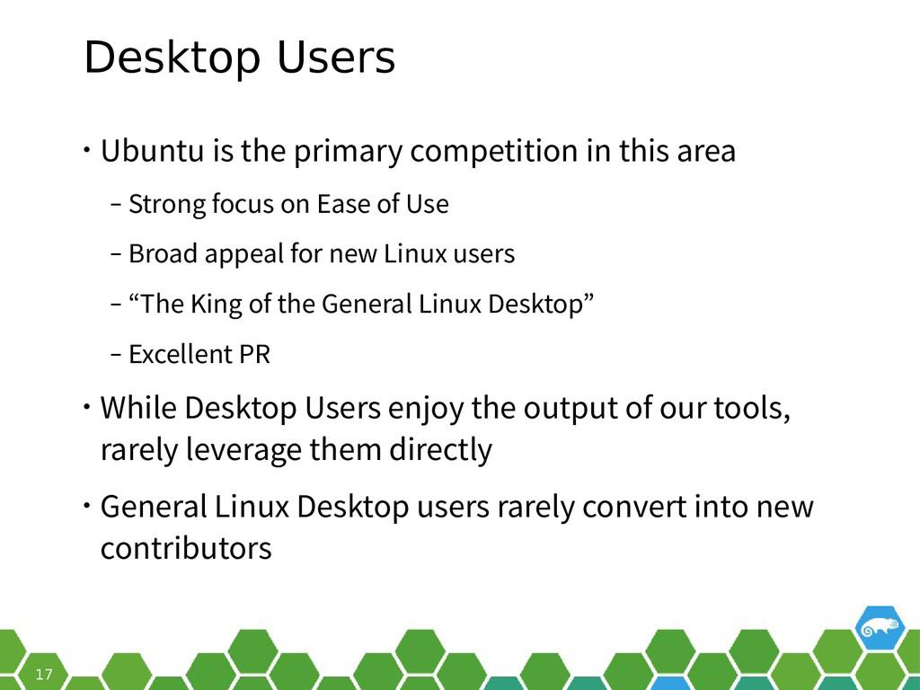 17 Desktop Users • Ubuntu is the primary compet...