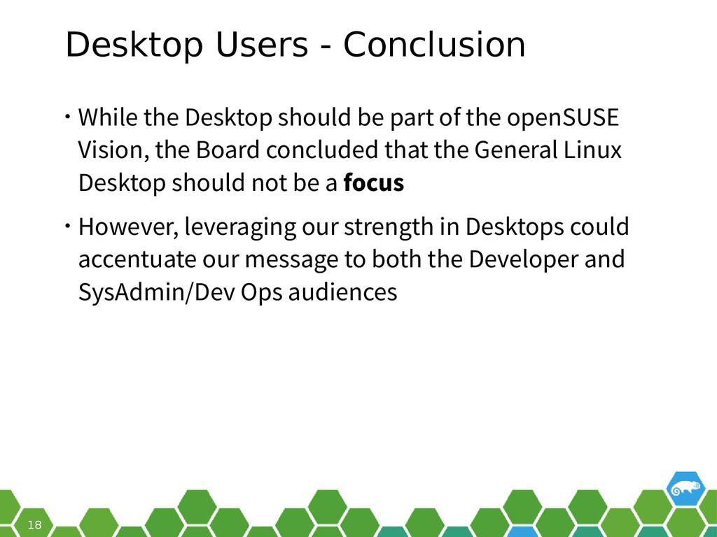 18 Desktop Users - Conclusion • While the Deskt...