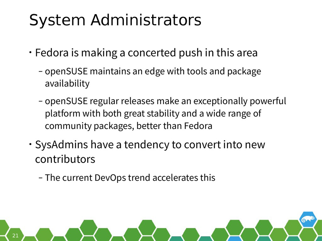 21 System Administrators • Fedora is making a c...