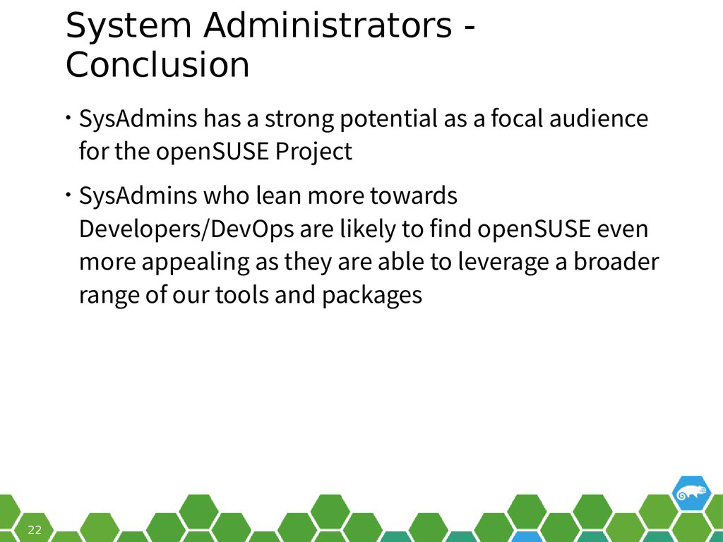 22 System Administrators - Conclusion • SysAdmi...