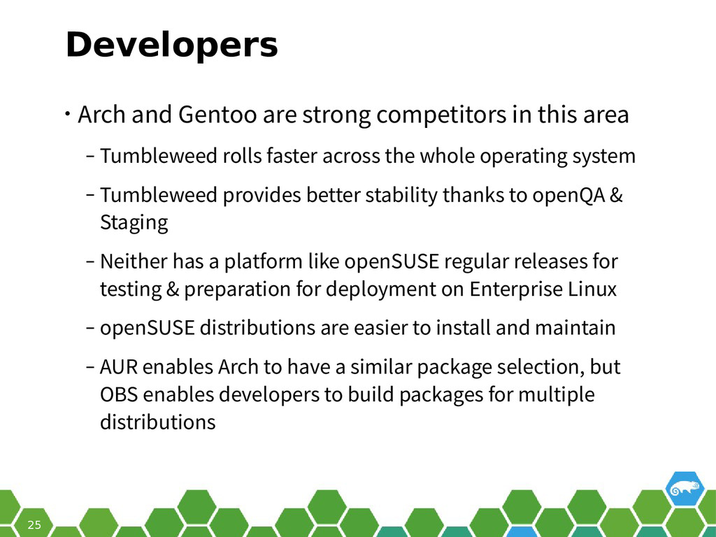 25 Developers • Arch and Gentoo are strong comp...
