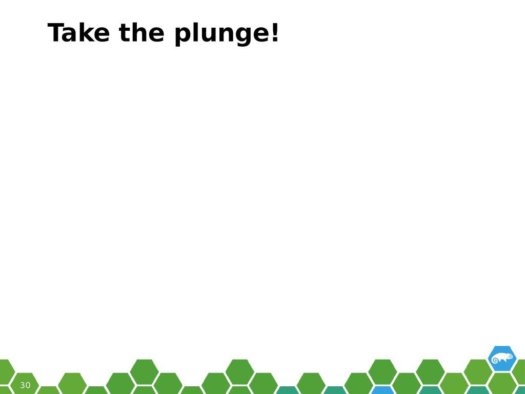 30 Take the plunge!