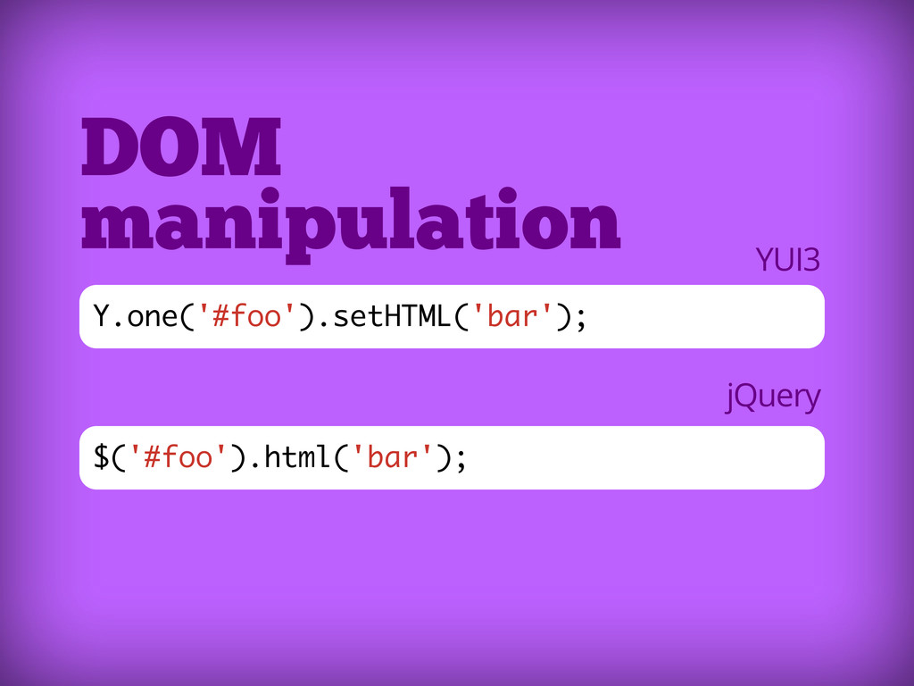 $('#foo').html('bar'); DOM manipulation Y.one('...