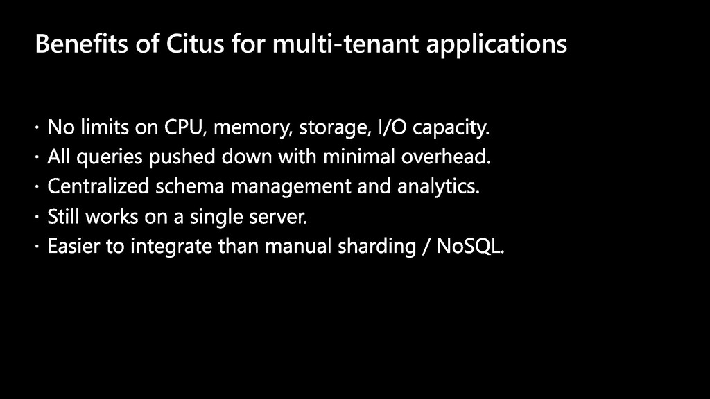 Benefits of Citus for multi-tenant applications