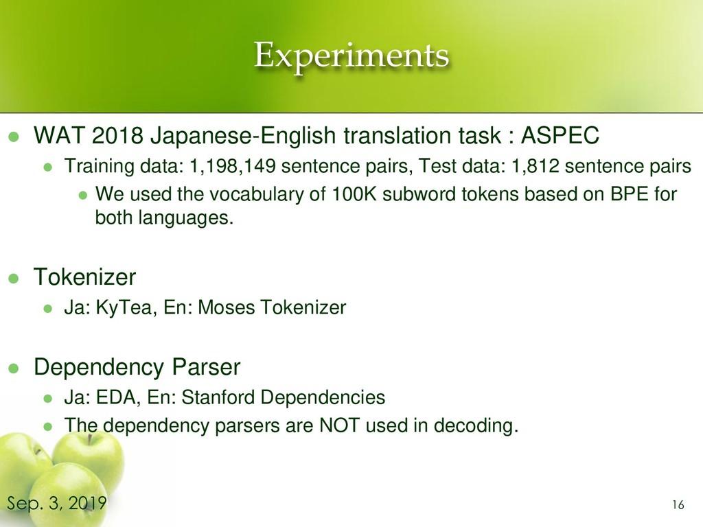 Experiments ⚫ WAT 2018 Japanese-English transla...