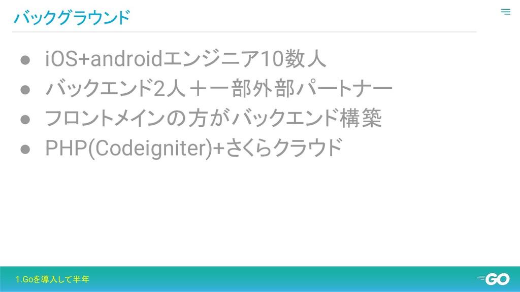 バックグラウンド 1.Goを導入して半年 ● iOS+androidエンジニア10数人 ● バ...