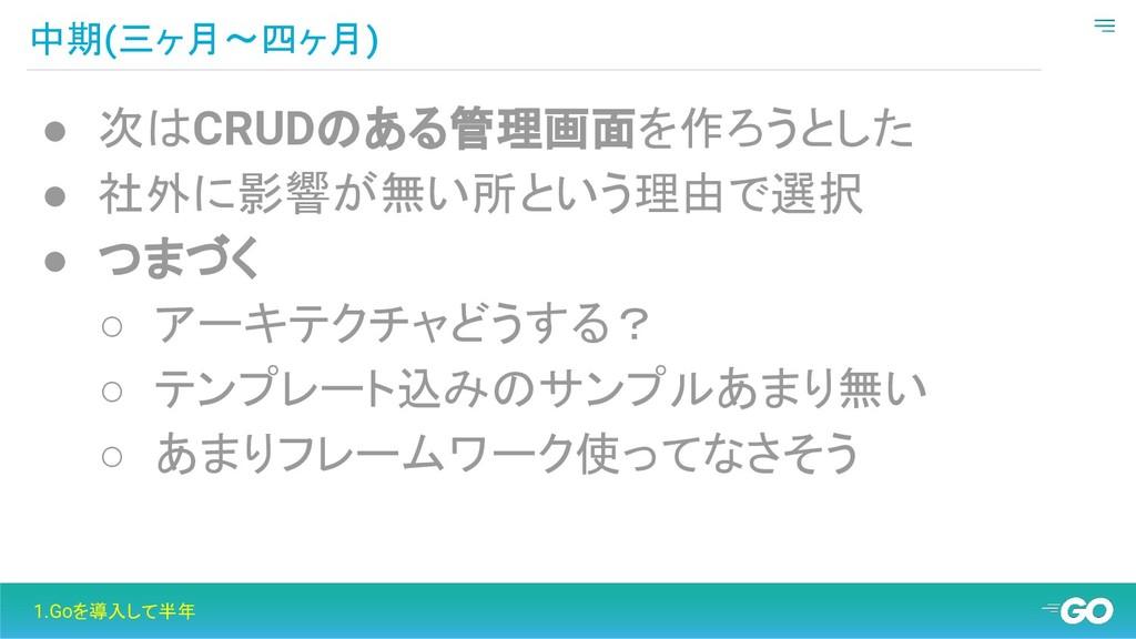 中期(三ヶ月〜四ヶ月) 1.Goを導入して半年 ● 次はCRUDのある管理画面を作ろうとした ...