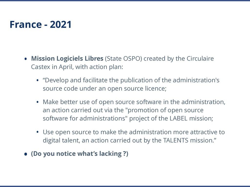 France - 2021 • Mission Logiciels Libres (State...