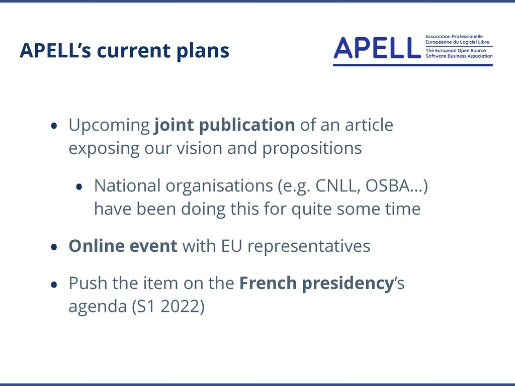 APELL's current plans • Upcoming joint publicat...
