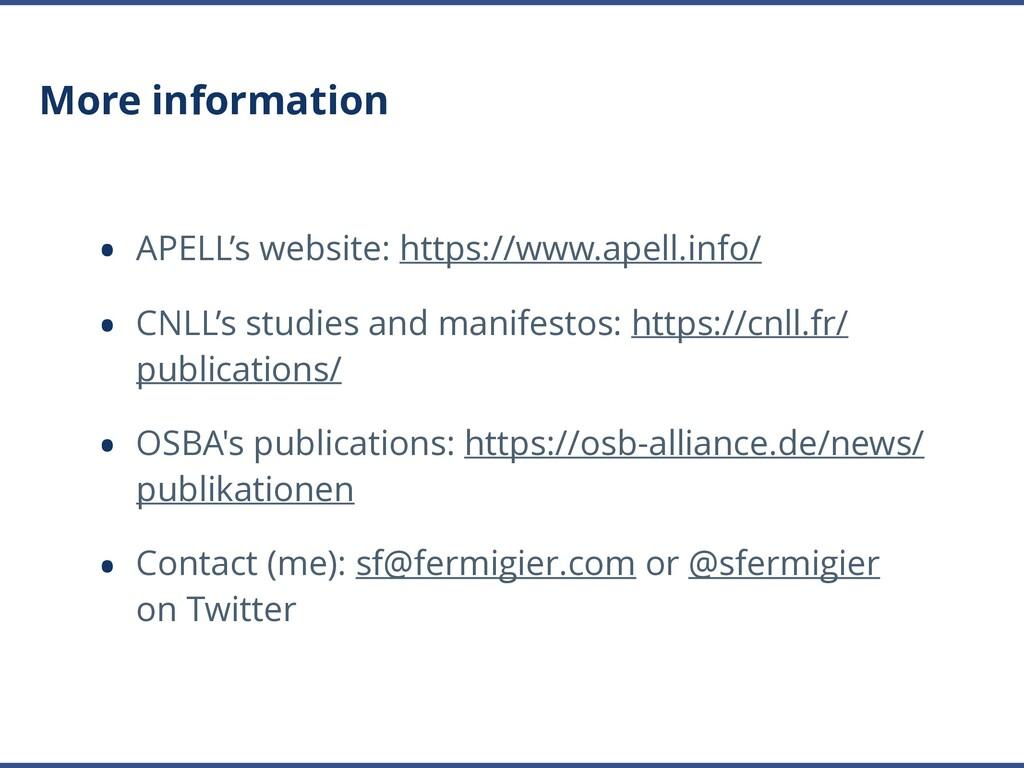 More information • APELL's website: https://www...