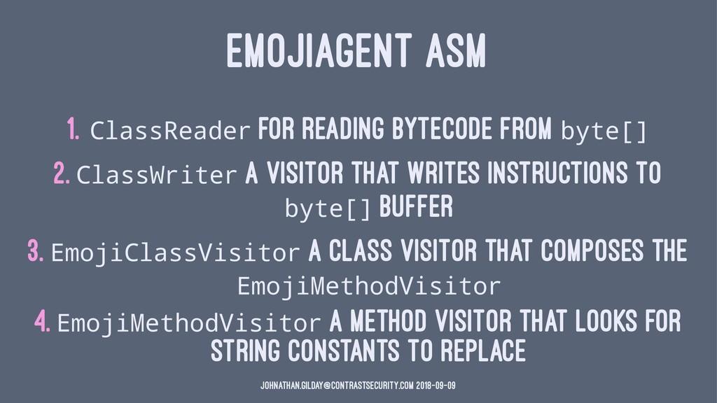EMOJIAGENT ASM 1. ClassReader for reading bytec...