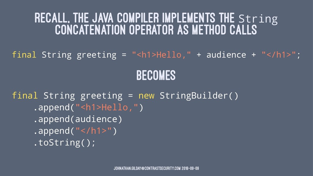 RECALL, THE JAVA COMPILER IMPLEMENTS THE String...