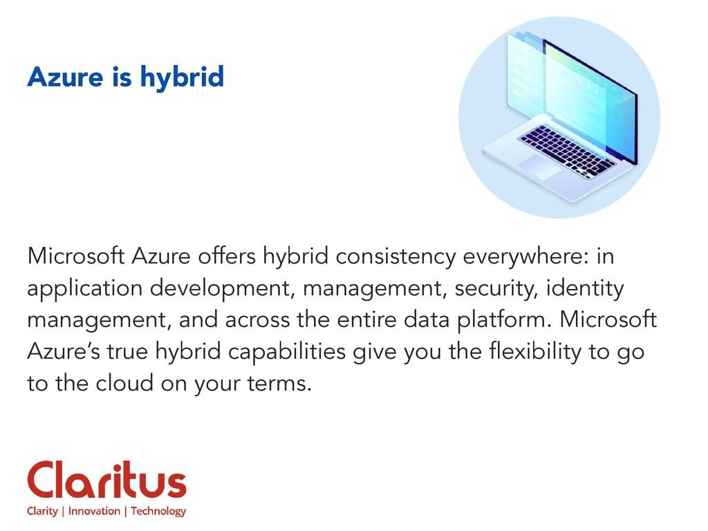 Azure is hybrid Microsoft Azure offers hybrid c...