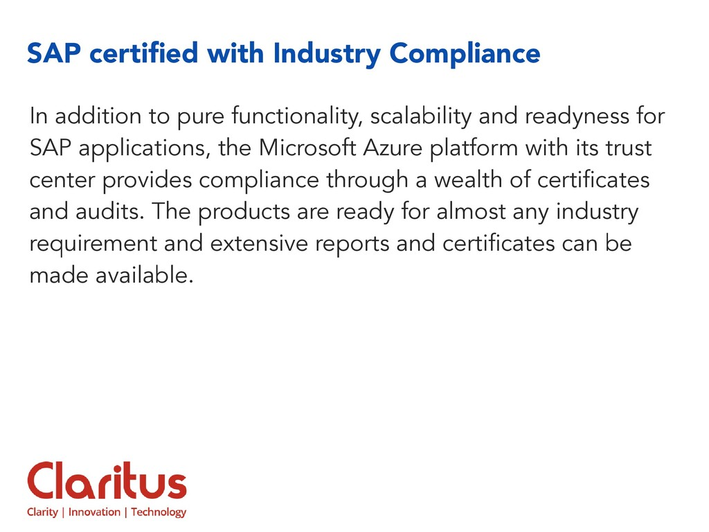 SAP certified with Industry Compliance In additi...