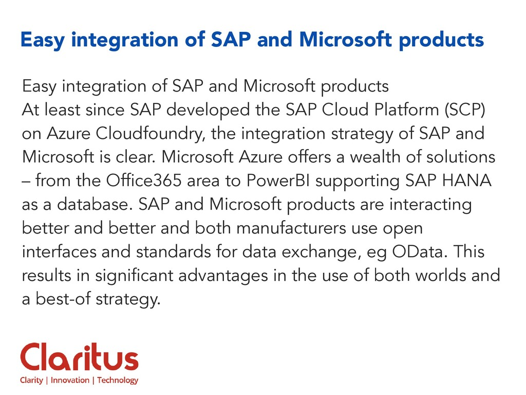 Easy integration of SAP and Microsoft products ...