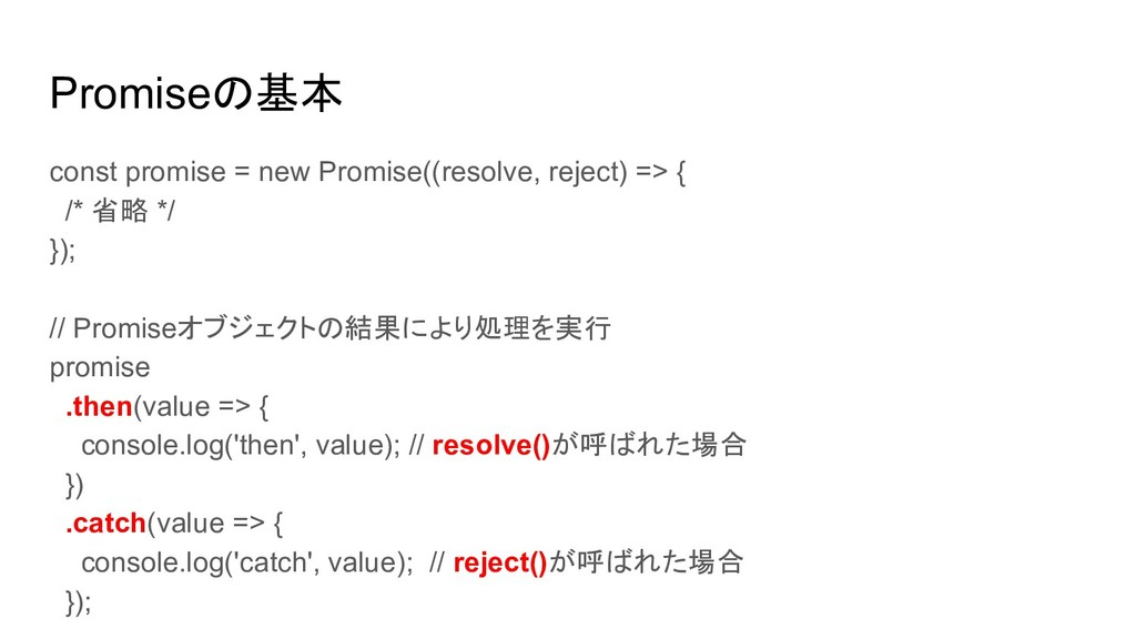 Promiseの基本 const promise = new Promise((resolve...