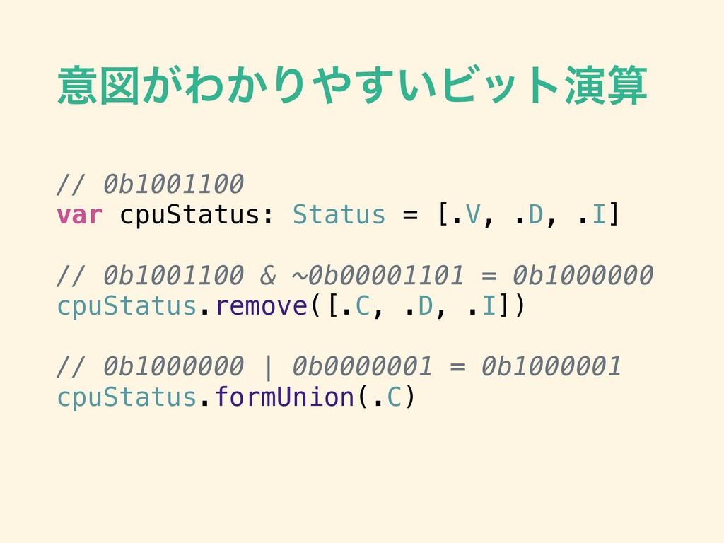 ҙਤ͕Θ͔Γ͍͢Ϗοτԋ // 0b1001100 var cpuStatus: Stat...