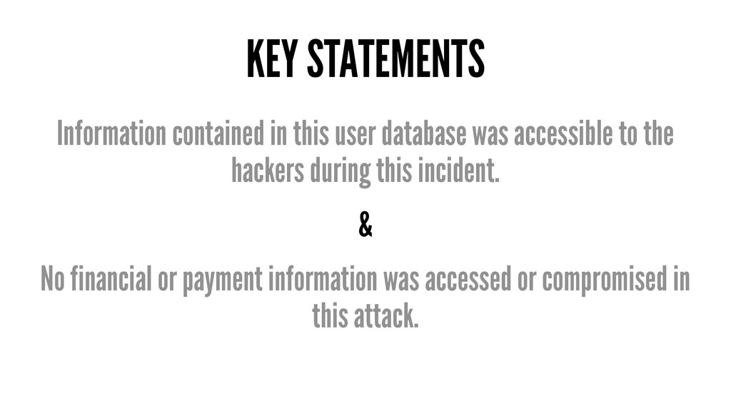 KEY STATEMENTS Information contained in this us...