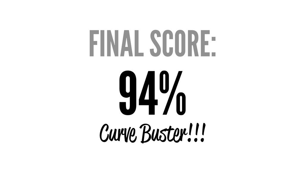 FINAL SCORE: 94% Curve Buster!!!