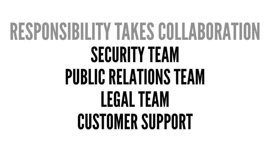 RESPONSIBILITY TAKES COLLABORATION SECURITY TEA...