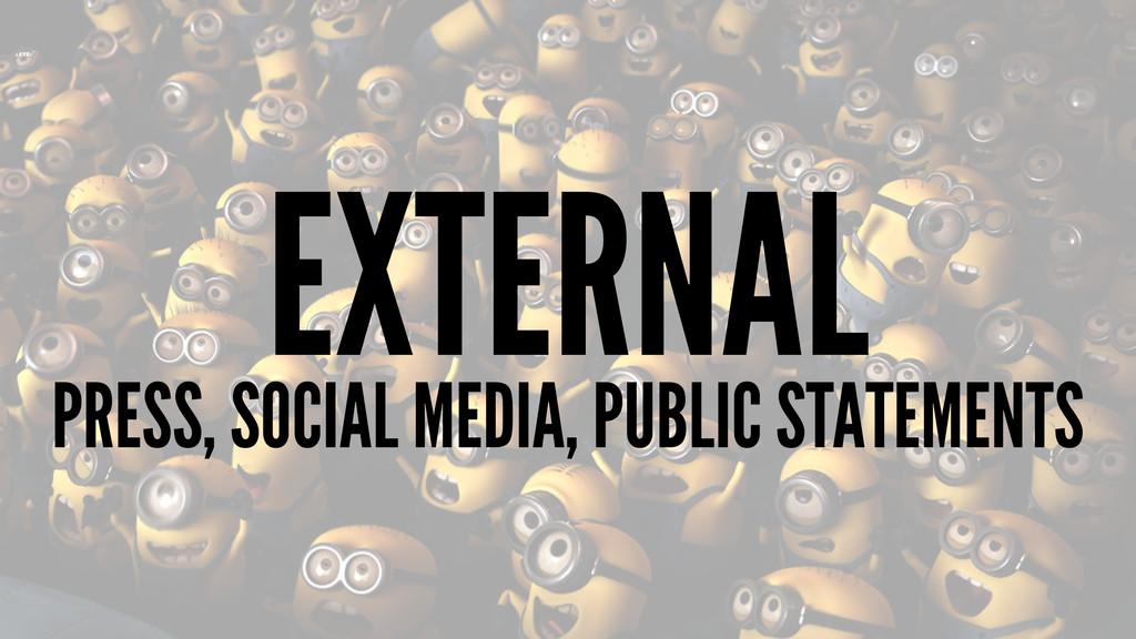 EXTERNAL PRESS, SOCIAL MEDIA, PUBLIC STATEMENTS