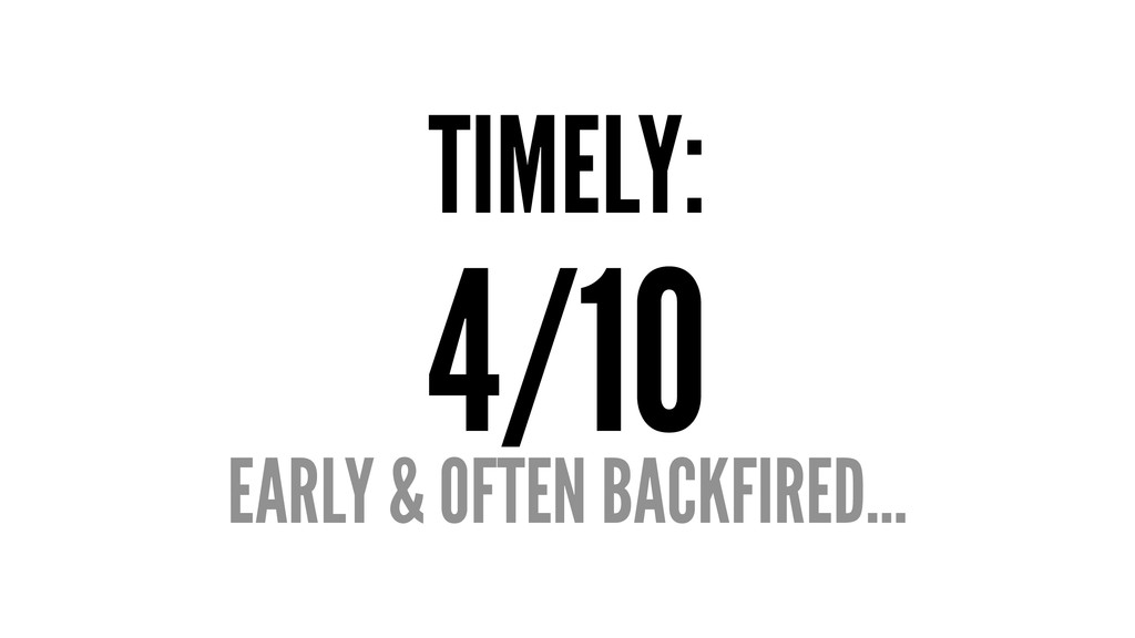 TIMELY: 4/10 EARLY & OFTEN BACKFIRED...