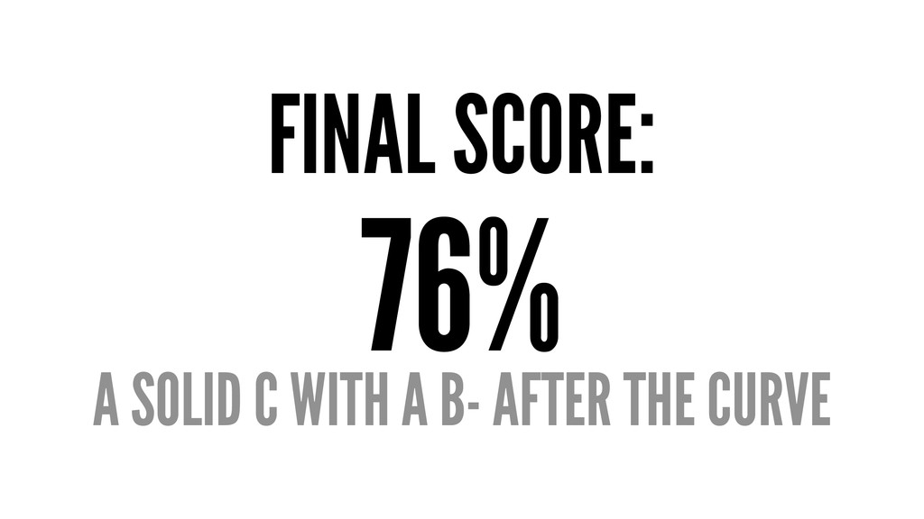 FINAL SCORE: 76% A SOLID C WITH A B- AFTER THE ...