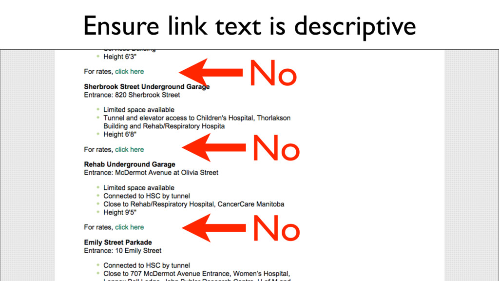 Ensure link text is descriptive No No No