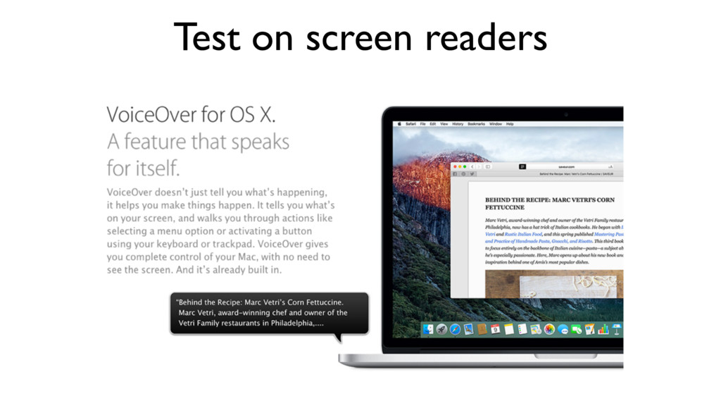 Test on screen readers