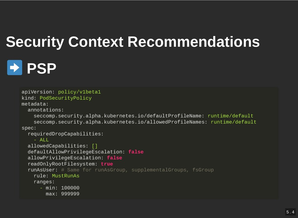 / Security Context Recommendations Security Con...