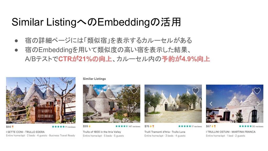 Similar ListingへのEmbeddingの活用 ● 宿の詳細ページには「類似宿」を...
