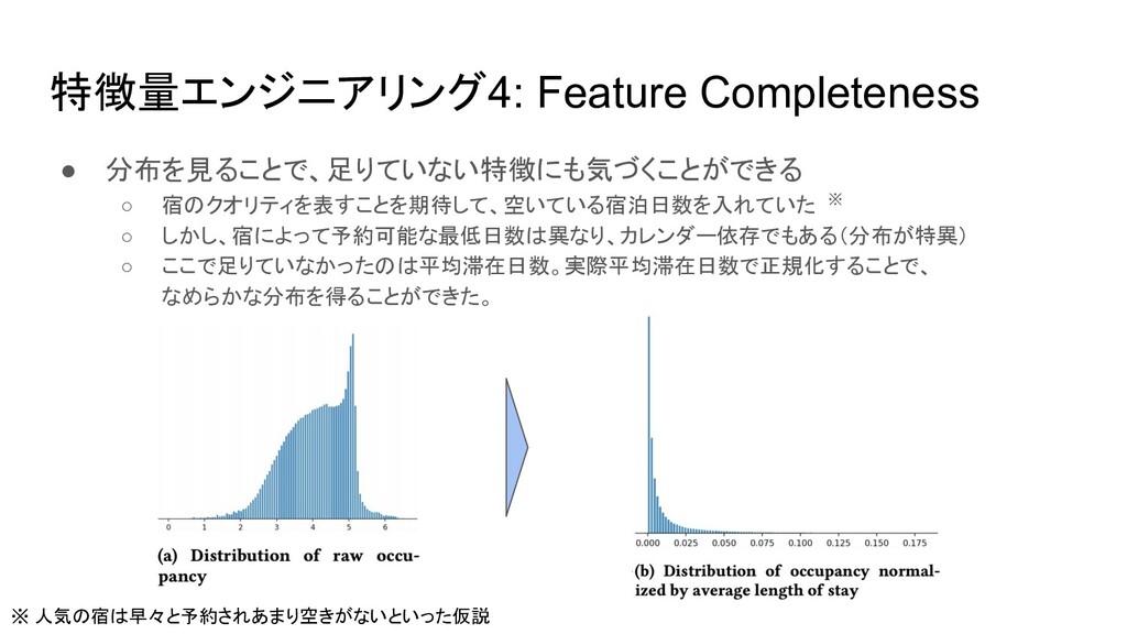 特徴量エンジニアリング4: Feature Completeness ● 分布を見ることで、足...