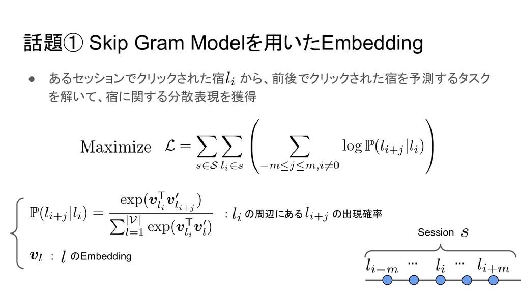 話題① Skip Gram Modelを用いたEmbedding ● あるセッションでクリック...