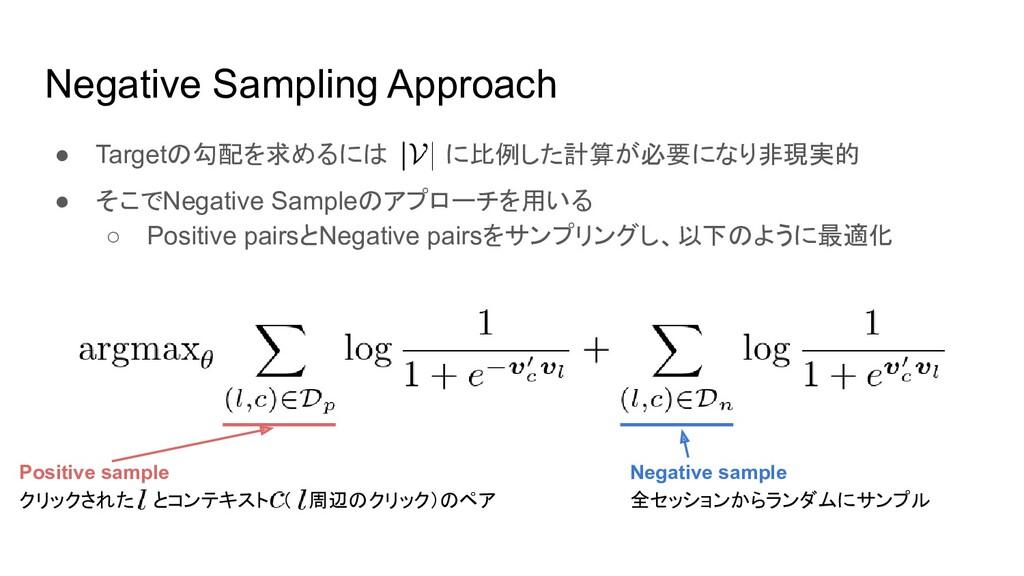 Negative Sampling Approach ● Targetの勾配を求めるには に比...
