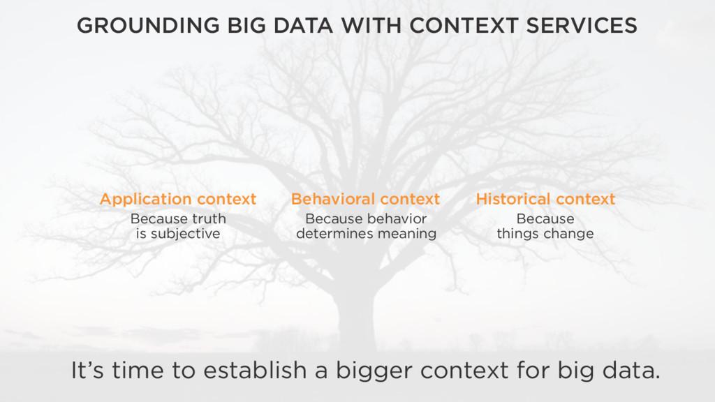 It's time to establish a bigger context for big...