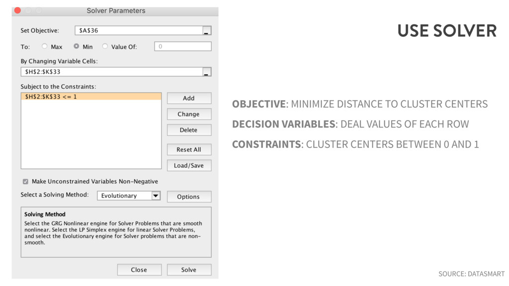 USE SOLVER OBJECTIVE: MINIMIZE DISTANCE TO CLUS...