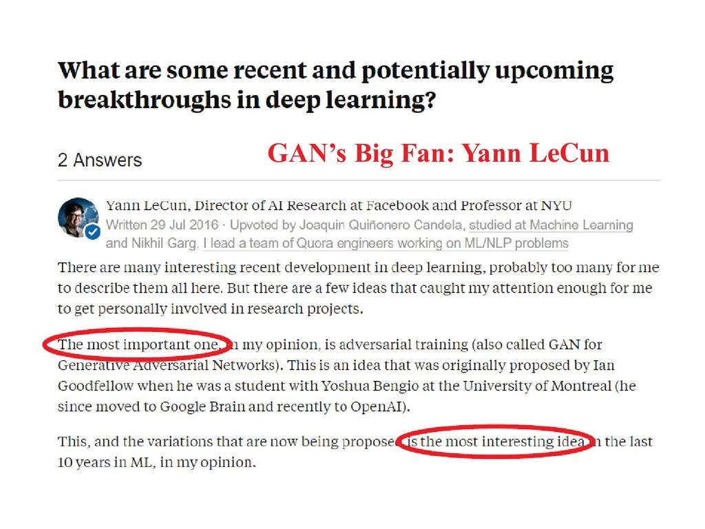 GAN's Big Fan: Yann LeCun