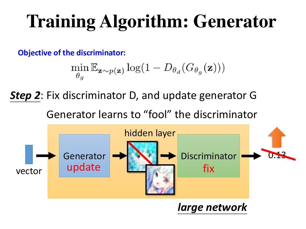 Step 2: Fix discriminator D, and update generat...