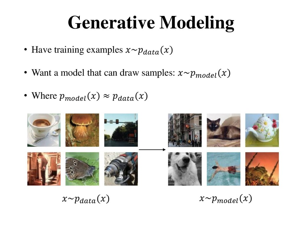 Generative Modeling • Have training examples ~ ...