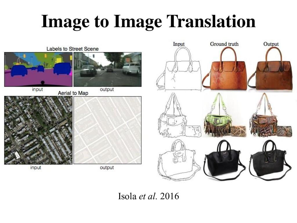 Image to Image Translation Isola et al. 2016