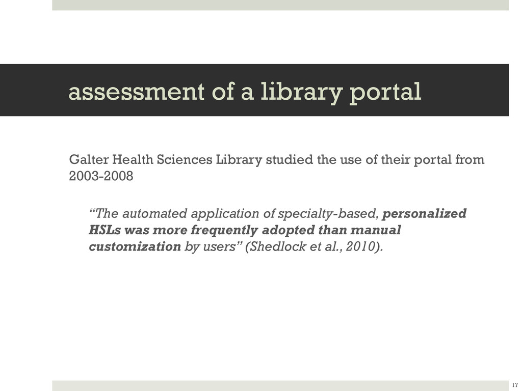 assessment of a library portal Galter Health Sc...