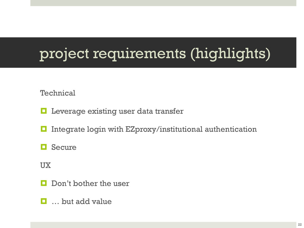 project requirements (highlights) Technical  L...