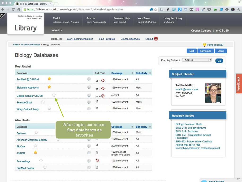After login, users can flag databases as favori...