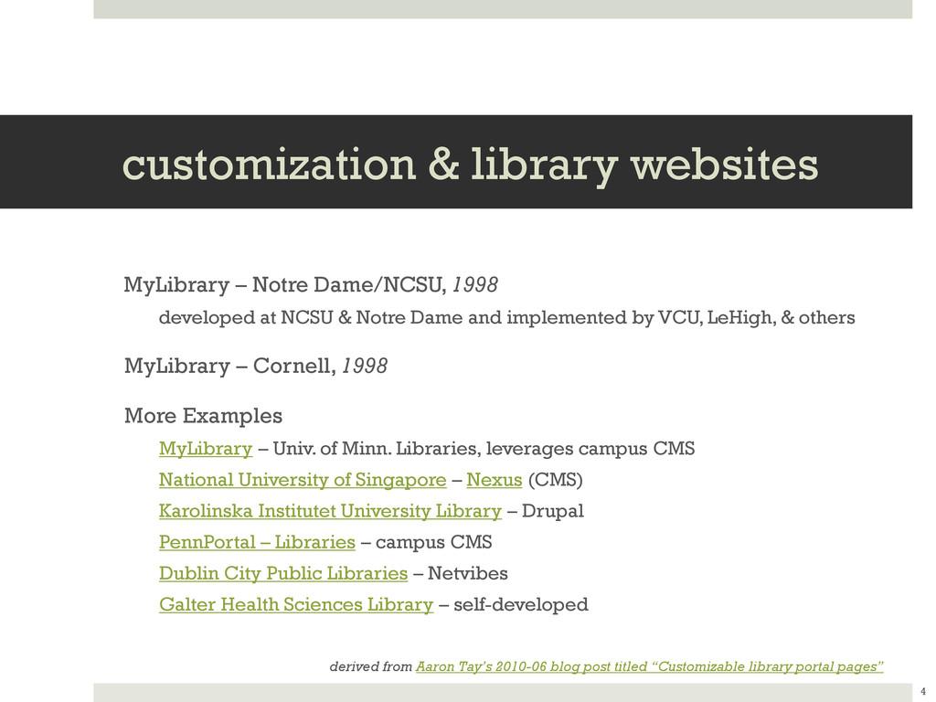 customization & library websites MyLibrary – No...