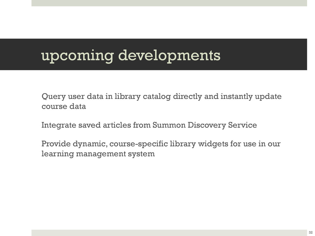 upcoming developments Query user data in librar...