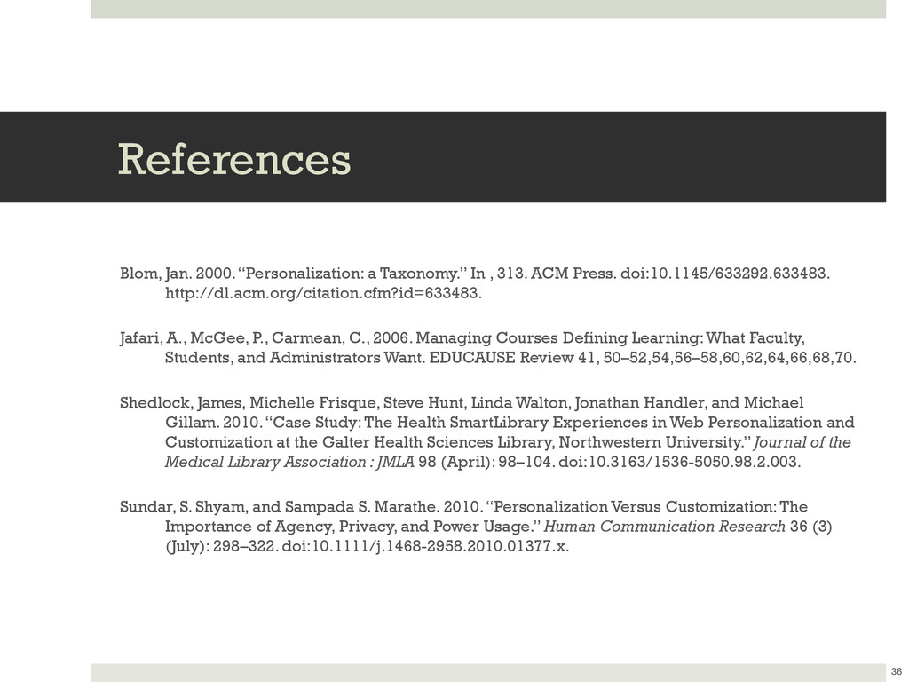 "References Blom, Jan. 2000. ""Personalization: a..."