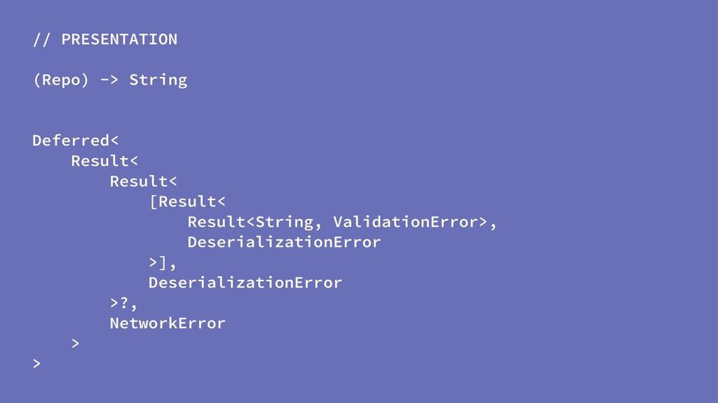 // PRESENTATION (Repo) -> String Deferred< Resu...