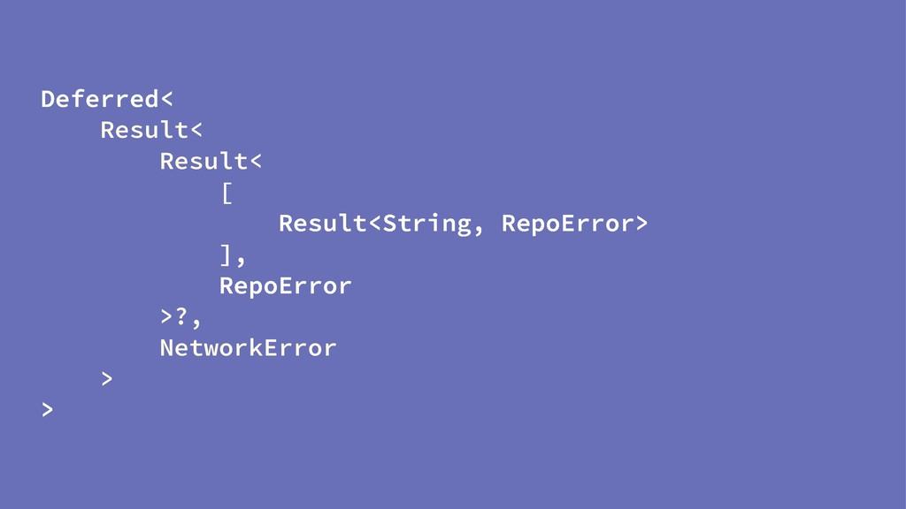 Deferred< Result< Result< [ Result<String, Repo...