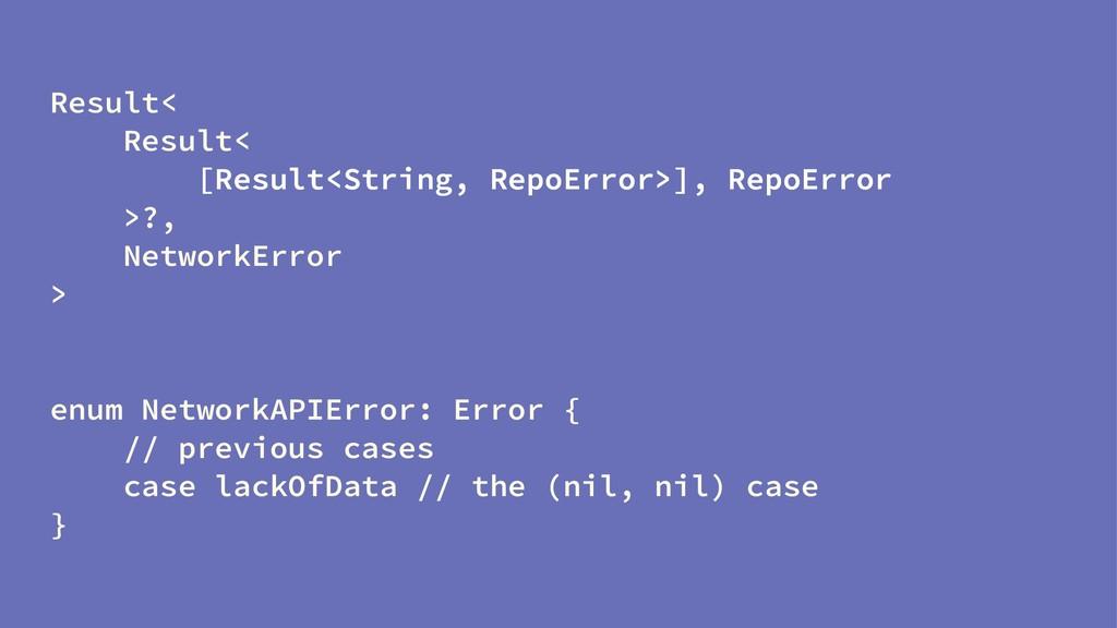 Result< Result< [Result<String, RepoError>], Re...