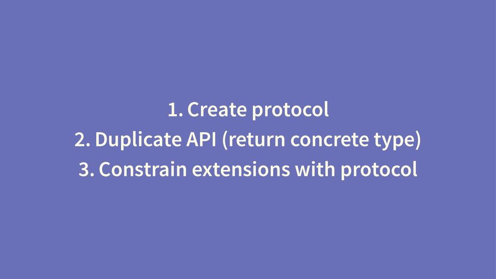 1. Create protocol 2. Duplicate API (return con...